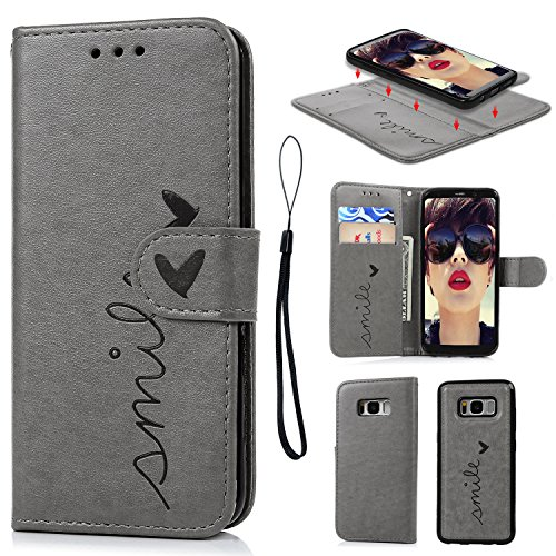 Galaxy S8 Case, S8 Case Embossed Love PU Leather Case TPU Shock Bumper Detachable Magnetic Wallet Case with Slot Wallet Wrist Strap Cover for Samsung Galaxy S8 (Gray)