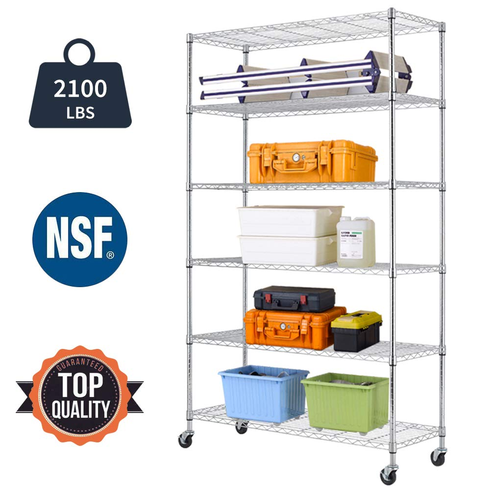 Bigacc 6 Tier NSF Wire Shelving Unit Wire Shelf Metal Rack Shelving Commercial Heavy Duty Height Adjustable Wire Shelves 18''x48''x82'' with Wheels/Feet Levelers for Garage Warehouse Office Kitchen