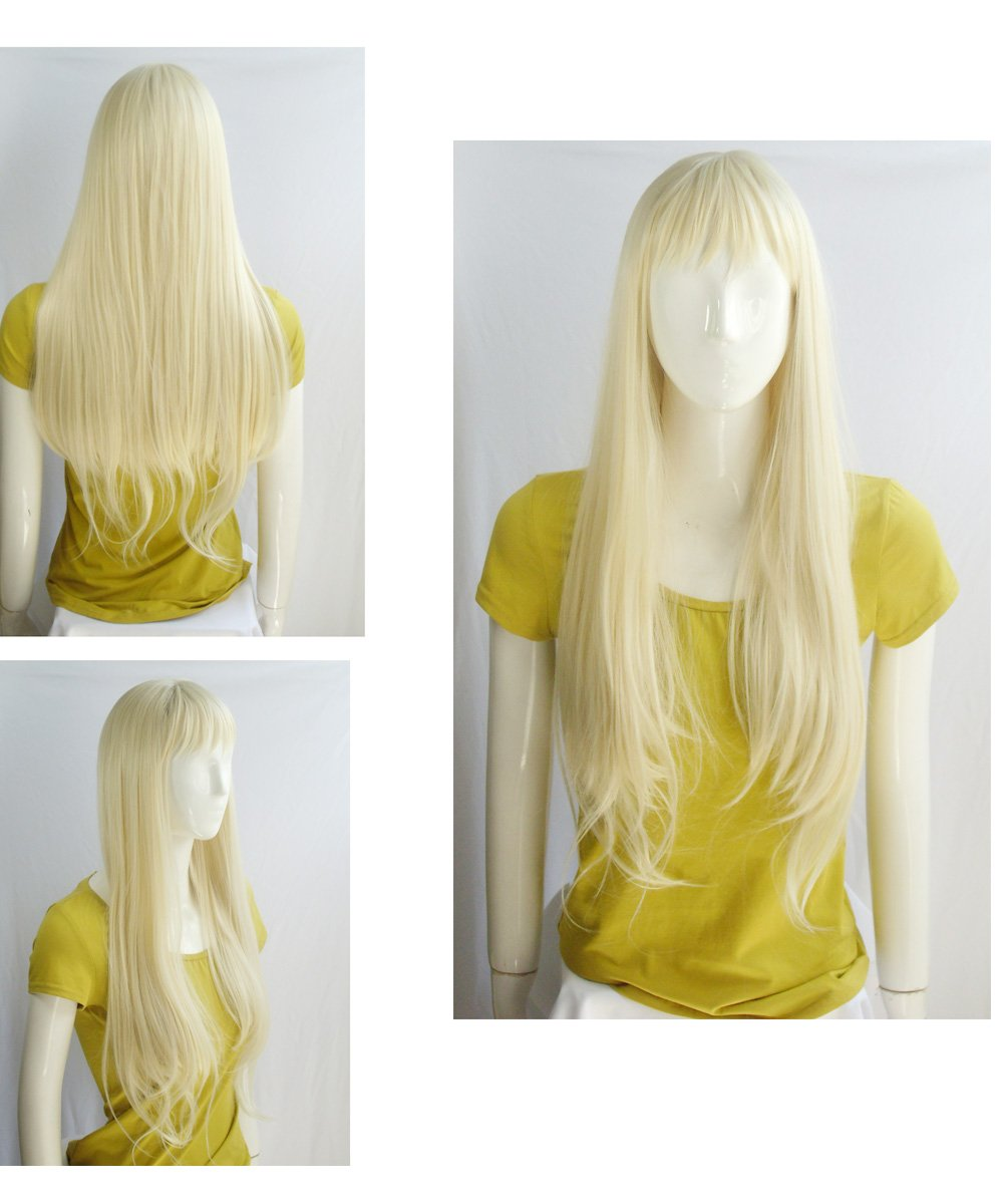 Namecute Bleach Blonde Wig 24 Inch Long Straight Wigs Bangs Full Cap Synthetic Natural Hair for Women , Free Wig Cap