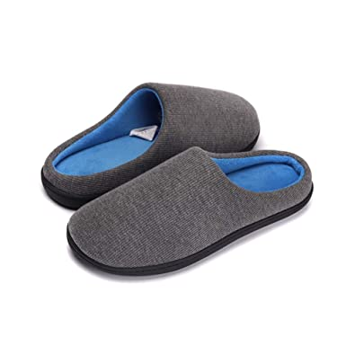 7d0ab4a92978 PromArder Men s Cozy Memory Foam Slippers Two-Tone House Shoes Plush Fleece  Lined Anti-