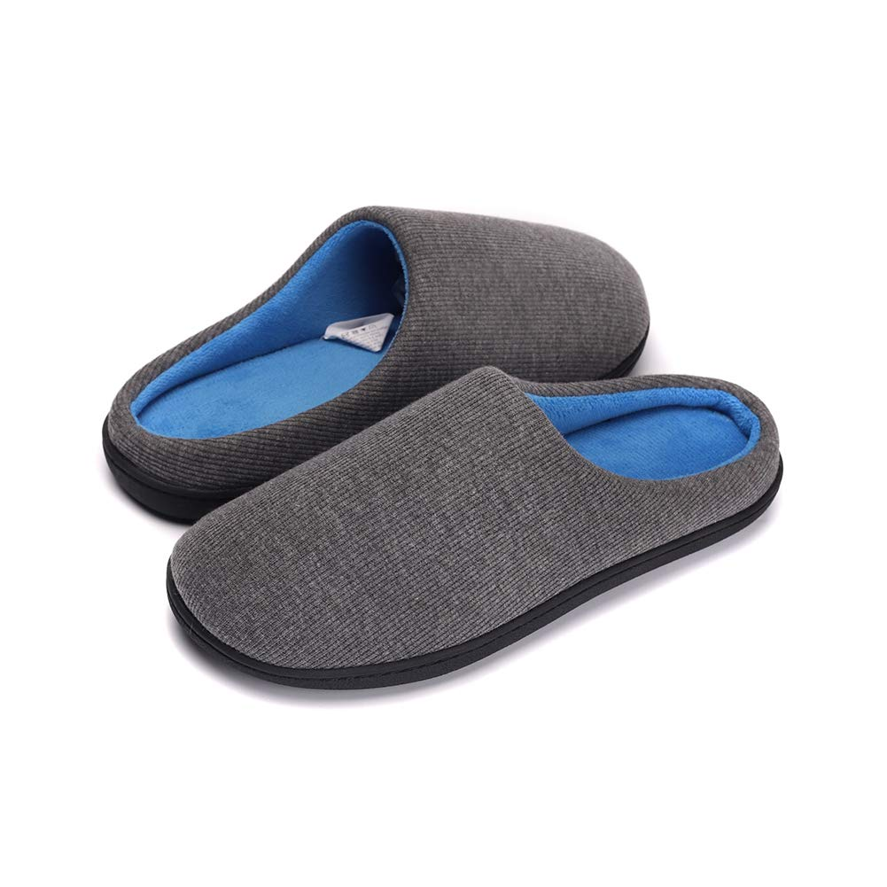 Mens Lightweight Fleece Slippers Memory Foam Anti Slip House Shoes Washable Sole, Indoor/Outdoor Dark Gray-L