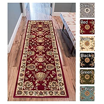 "Sultan Sarouk Red Persian Floral Oriental Formal Traditional 2x7 (23"" X 73"") Runner Rug Stain / Fade Resistant Contemporary Floral Thick Soft Plush Hallway Entryway Living Dining Room Area Rug"