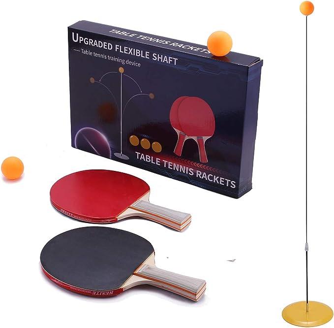2 Table Tennis Paddle /& 3 Ping-Pong Balls LYM Ping Pong Balls Paddles Set Table Tennis Training Elastic Soft Shaft Equipment Trainer Practice Ball Bulk Children Adult