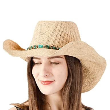 dbc85f6122e9c Amazon.com  NAMANANA Cowboy Hats Classic Straw Hat Summer Sun Hats for Men  Women 100% Handmade Raffia Straw Trilby Cap Beach Holiday Cool  Clothing