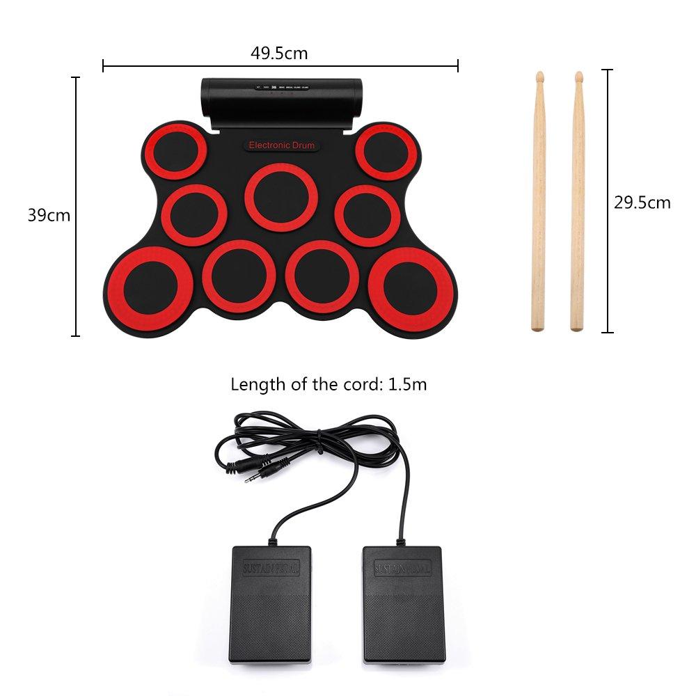 Pour d/ébutants fournis avec les baguettes NEWBEN Kit de Batterie /Électronique Num/érique Haut-Parleurs et P/édales de Pied Int/égr/és Enfants ou Adulte Set de 9 Pads
