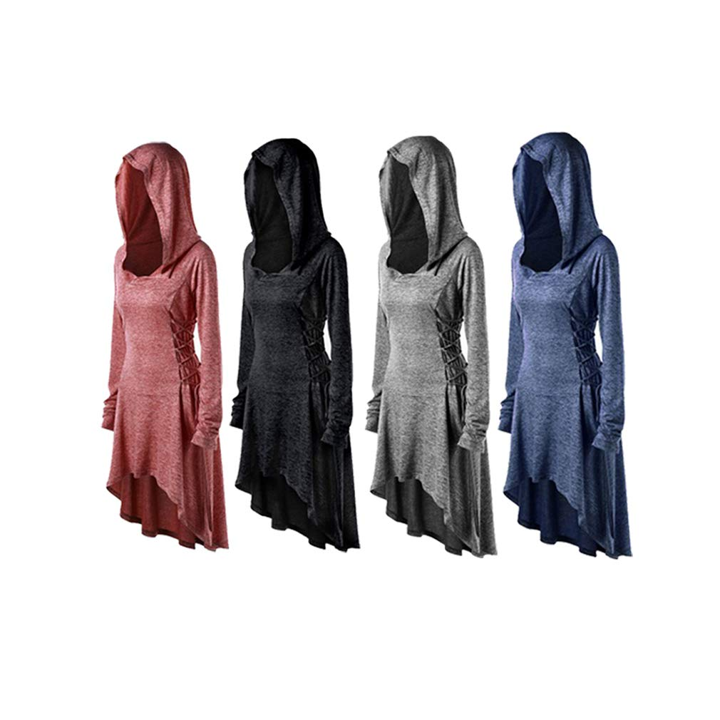 Womens Gothic Cap Asymmetrical Hem Hooded Dress Ladies Long Sleeves Lace up Vintage Long Pullover Cloak Swing Dress Evening Party Christmas Halloween Dress