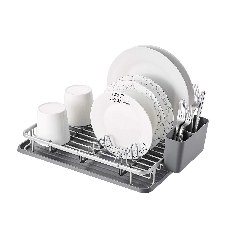 KK KINGRACK Aluminum Dish Drying Rack with Utensil Holder, Drainboard for Kitchen Countertop Dish Drainer 112055