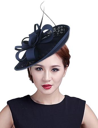 La Vogue Feather Fascinator Pillbox Hat Headpieces Bridal Wedding Hair Clip  Headdress Navy Blue  Amazon.co.uk  Beauty 3301c3a8f9c