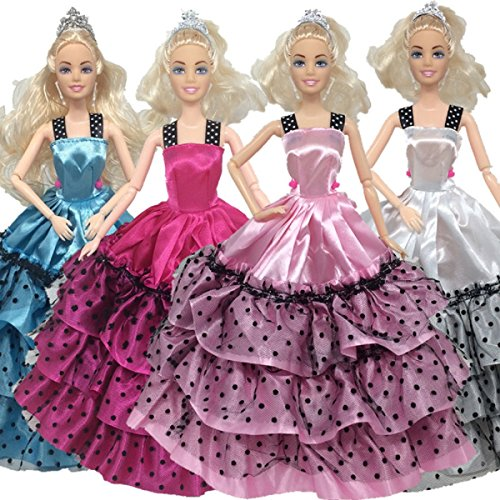 4pcs Barbie Handmade Fashion Wedding Party Gown Dresses For Girl's Birthday Gift Xmas Gift