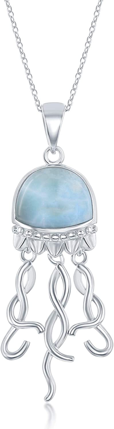 """Sterling Silver Natural Larimar Jellyfish 18"""" Pendant Necklace"""