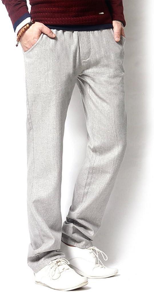 HIENAJ Mens Casual Summer Beach Linen Pants Lightweight Loose Fit Drawstring Trousers