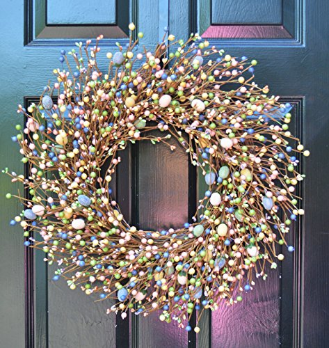 Elegant Holidays Handmade Easter Egg Berry Wreath, Decorative Front Door to Welcome Guests-for Outdoor or Indoor Home Wall Accent Décor- Great for Spring- Pastel Colors- 16-24 inches available