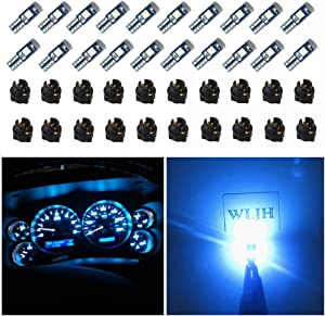WLJH 74 Led Bulb Dash Lights 3SMD Super Bright T5 2721 37 286 Wedge PC74 Twist Socket Automotive Instrument Panel Gauge Light Kits Cluster Shift Indicator Interior Bulbs Ice Blue Pack of 20