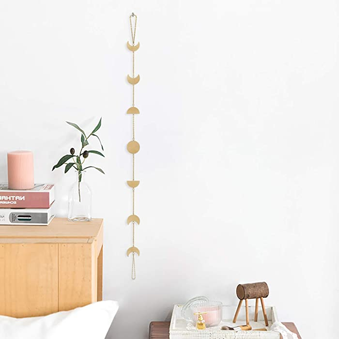 OCIOLI Wood Moon Phases Garland Wall Hanging Moon Decor Wall Decorations with Metal Chains for Office Nursery Bedroom Window Decorative Wall Art Ornaments (Gold)
