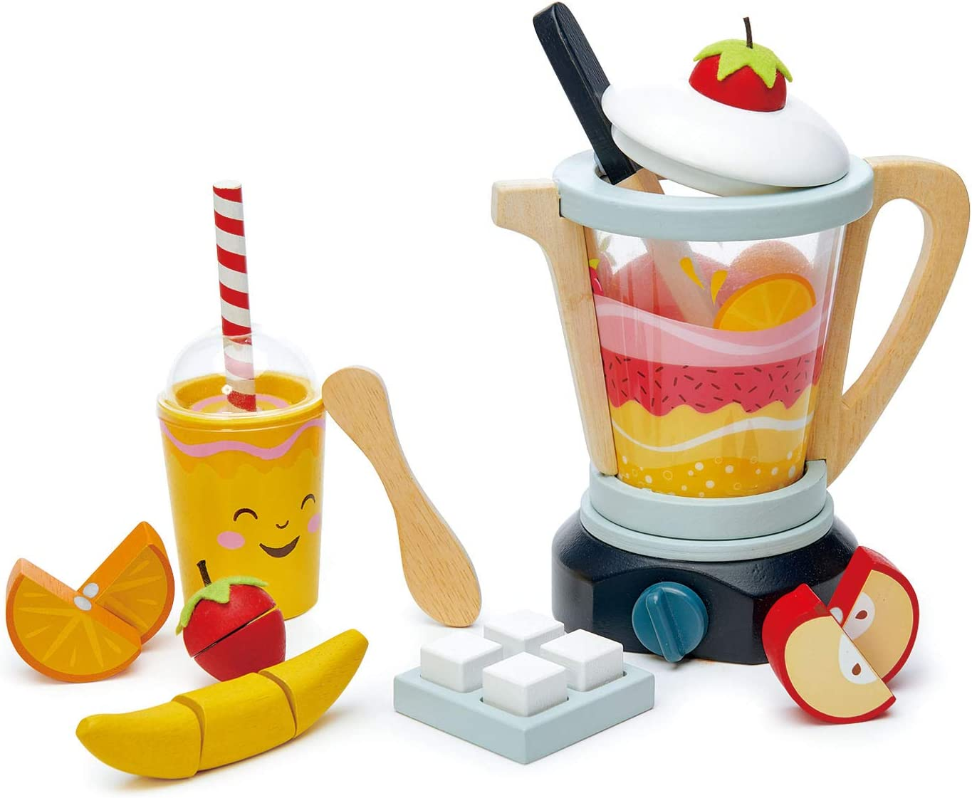 Tender Leaf Toys Mini Chef Fruity Smoothie Blender - Realistic Features for Pretend Cooking - Social, Creative, and Imaginative Development – Learning Role Play to Make a Healthy Shake – Ages 3 years+
