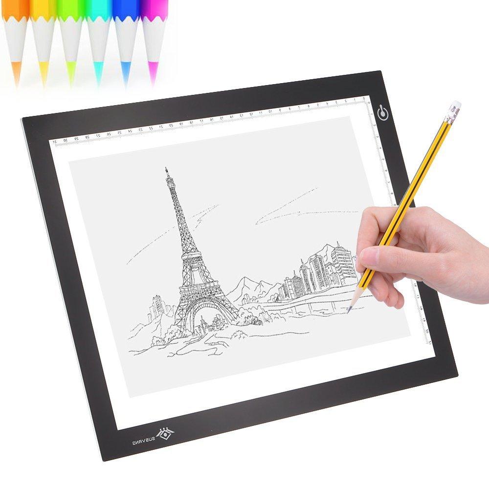 Asenart® A4 Led Tavoletta luminosa moderno ultra-sottile dimmerabile luminosità LED Artist stencil Board Tattoo Drawing Tracing Table display Light box Pad