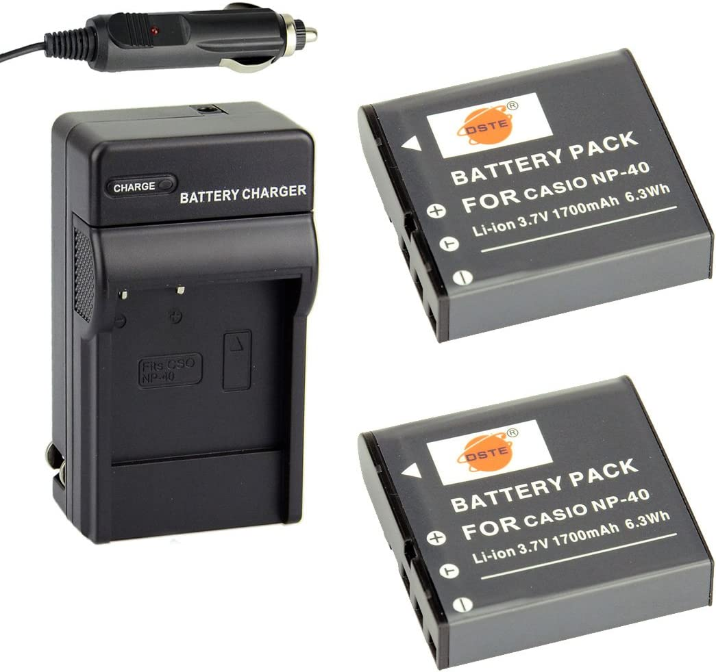 DSTE Replacement for 2X NP-40 Battery + DC73 Travel and Car Charger Adapter Compatible Casio EX-FC100 FC150 FC160S Z400 PRO P505 P600 P700 Zoom Z100 Z1000 Pentax XG-1 Camera as LB-060