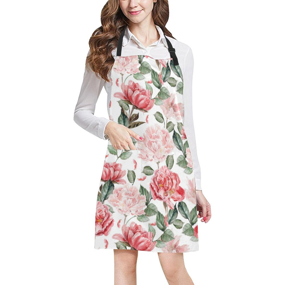 (Design 15) - InterestPrint Watercolour Peony Red Flowers Adjustable Bib Apron with Pockets - Commercial Restaurant and Home Kitchen Adjustable Apron, Plus Size  デザイン#15 B079R9T5Q1