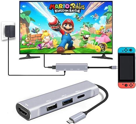 HDMI Hub USB C Interruptor de Nintendo, AOGE interruptor Dock (4 ...