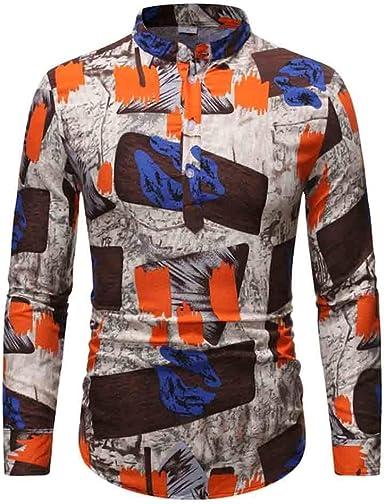 LHWY Camisa de Hombre Blusa de Camisa Hawaiana con Estampado ...