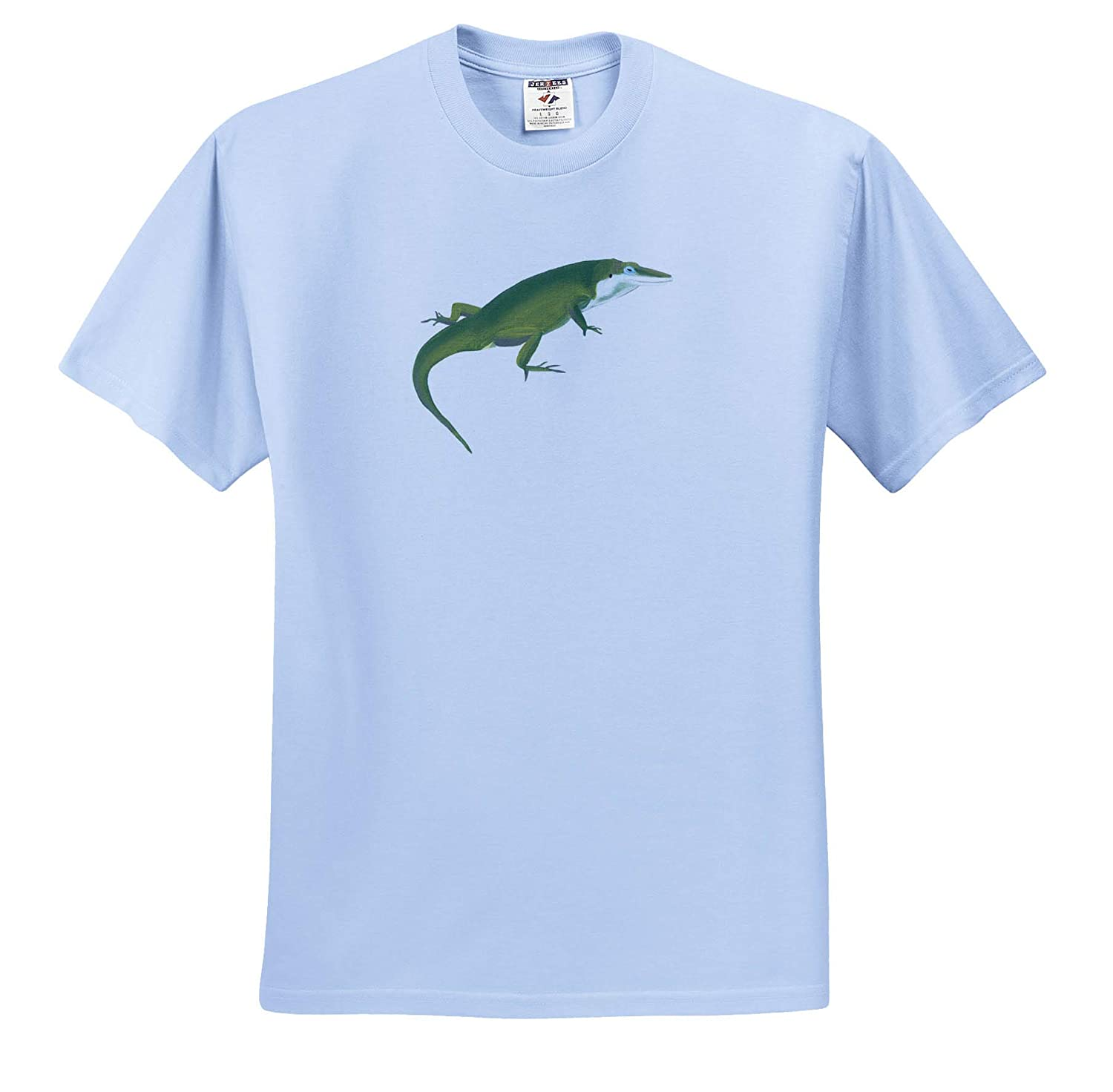 ts/_311417 3dRose CherylsArt Wild Animals Lizard Painting of a Crawling Green Lizard Adult T-Shirt XL