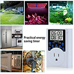 Timer Switch Outlet, FEELLE Digital Programmable Plug-in Timer Socket With Alarm, Countdown , Timing Cycle for Plants, Gardening, Lights, Water Pump(2 PACK)