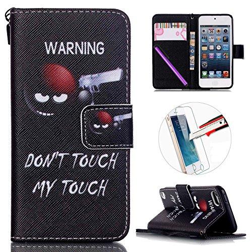 iPod Touch 5 / 6 Case, ISADENSER PU Leather Case Cover Flip Wallet Card Holder Bags Magnet Design Flip Case Cover for iPod Touch 5th / 6th +1pcs Screen Protector - Shooter Pen