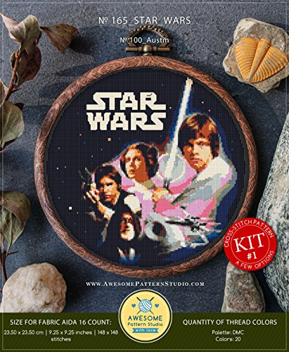 Star Wars #K165 Embroidery Cross Stitch Kit | Stars Movie Cross Stitch Patterns | How to Cross Stitch | Needlepoint | Counted Cross Stitch ()