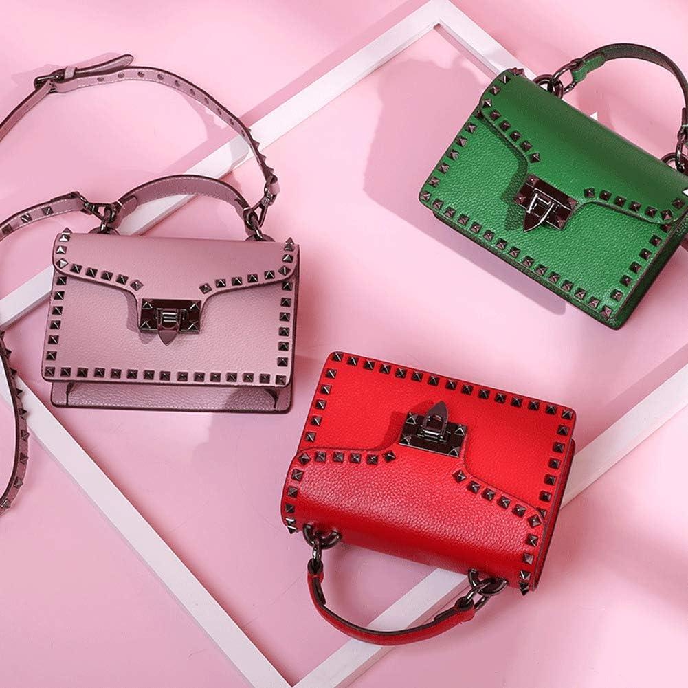 Leder Damen Handtasche Große Kapazität Messenger Bag Metall Schloss Kleine Quadratische Tasche für Alltag Weihnachten Party Rot