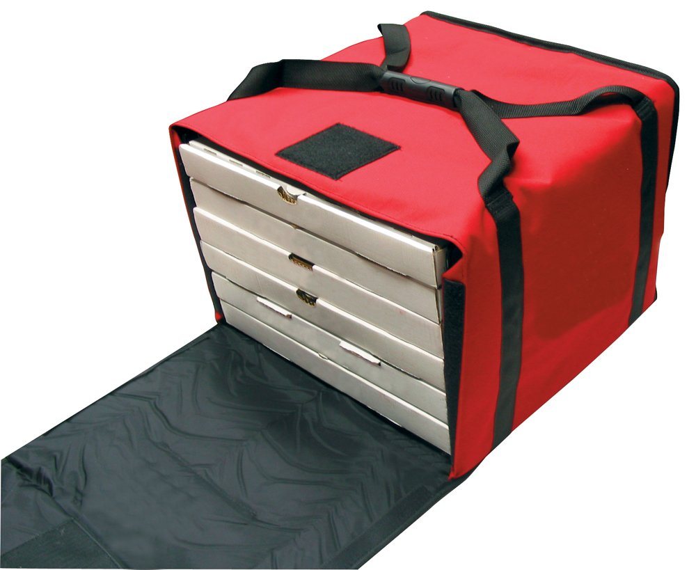 RediHEAT HP160 Heated Pizza Delivery System, 16'' 5-Pie Bag, 17.5'' Length x 17.5'' Width x 12'' Height, Red