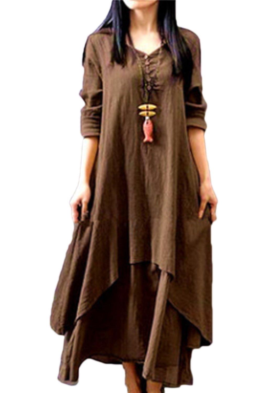Zamtapary Robes Casual Femme Vintage Manche Courte Lin Coton Irr/égulier Boheme Longue Boho Robe