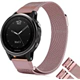 Fenix 5S/5S Plus Watch Band, YOOSIDE 20mm Quick Fit Stainless Steel Milanese Loop Replacement Watch Band for Garmin Fenix 5S/Fenix 5S Plus Smart Watch,(Rose Pink,S)
