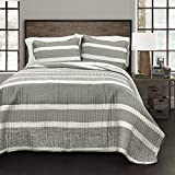 Lush Decor Lush Décor Geometric Stripe 3 Piece Quilt Set, Full/Queen, Gray