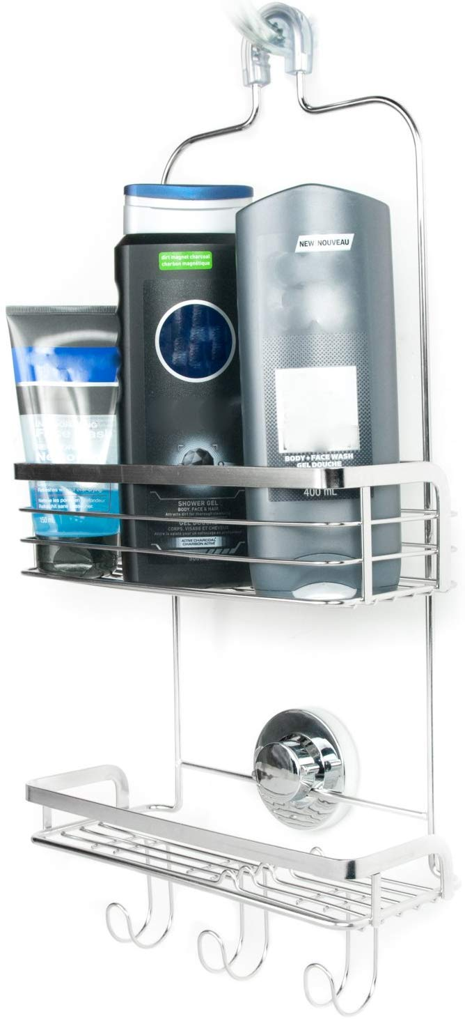 2 Tiers of Shelves Includes Superior Suction Cup Stainless Steel Rust Proof Modern Hanging Shower Caddy by Vidan Home Solutions