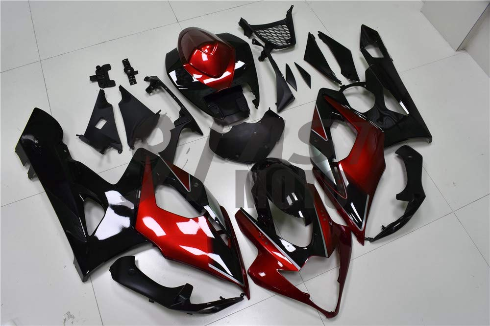 S1282 9FastMoto Fairings for suzuki 2005 2006 K5 GSXR1000 GSXR 1000 05 06 GSX R1000 K5 Motorcycle Fairing Kit ABS Injection Set Sportbike Cowls Panels Black /& Red