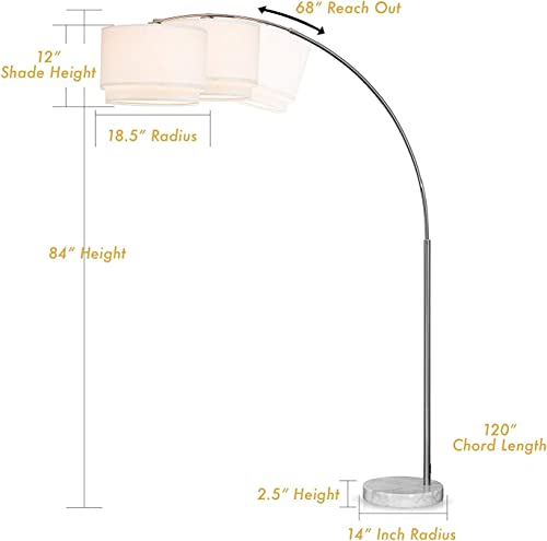 Major-Q SH-6938WH Brush Steel Arching Floor Lamp