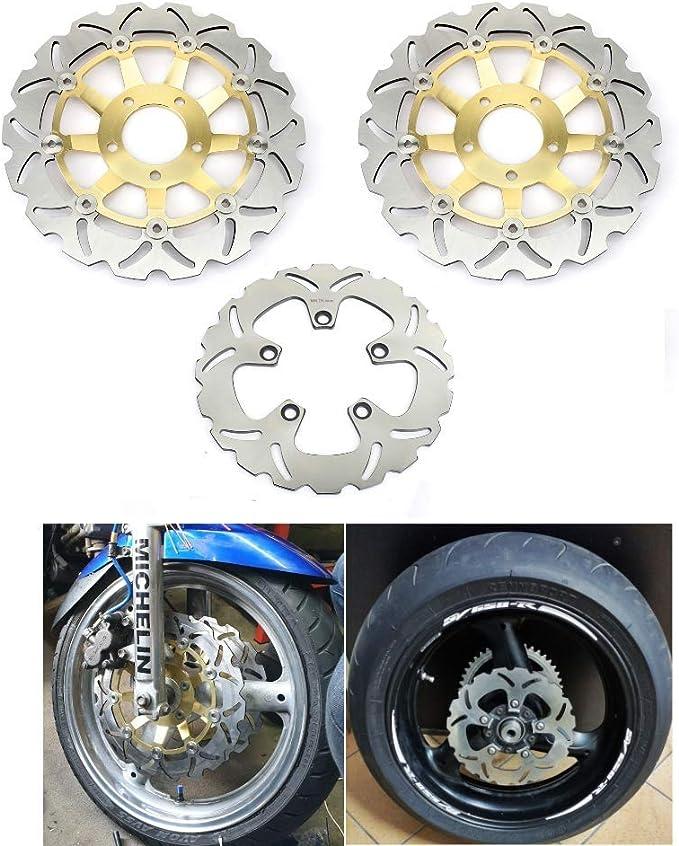 Tarazon Gold Brake Discs Front Rear 3 Pieces Matching Gsf600 Gsf 600 S 1995 2004 Bandit Gsx600f 1998 2003 Rf600r 1993 1998 Svs650s 1999 2002 Gsx750f 1999999f 8 200 3 Rf 400 R Rv Auto