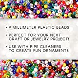 Darice White, 9m Opaque Pony Craft Projects for All Ages Jewelry, Ornaments, Key Chains, Hair Round Plastic Center Hole, 9mm Diameter, 1,000 Beads Per Ba, 1000