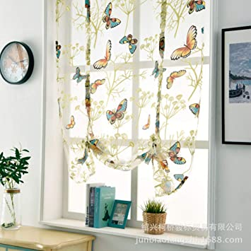 Floral Pattern Roman Curtains Green Sheer Voile Window Shade Blind 100x140cm