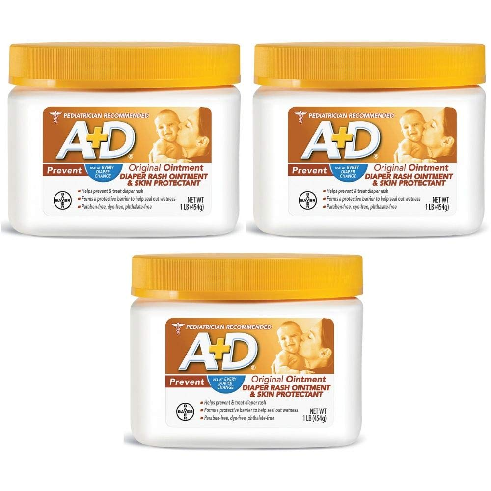 Diaper Rash Ointment, Skin Protectant with Lanolin and Petrolatum, Seals Out Wetness, Helps Prevent Baby Diaper Rash, 1 Pound Jar (3 Pack) by A&D