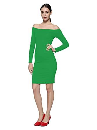 defd751b32ae3c Maggie Tang Women's Off Shoulder Fitted Long Sleeve Casual Party Dress  Green S