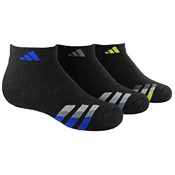 adidas quarter socks. adidas boys cushion low cut socks (pack of 3), black/bold blue quarter