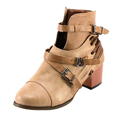 fd9c2d49637db Bottes Zipper Martin LuckyGirls Bottes de Moto Couleur Unie pour Femmes  Martin Bottes dans Les Chaussures