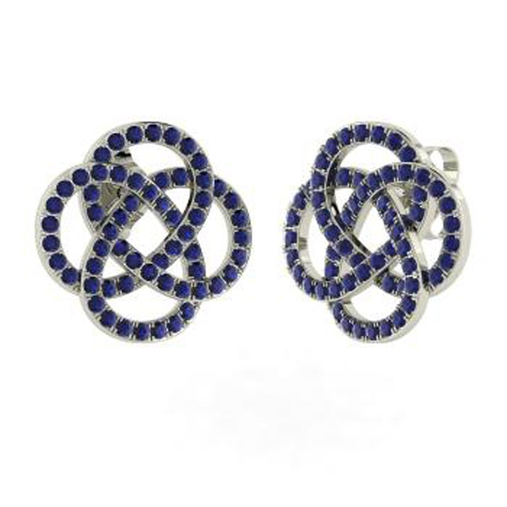 TrioStar 1.00 Ct Round Cut Blue Sappire Pave Set 14k White Gold Over Stud Earrings