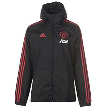 220a31d4f adidas Men's Manchester United Rain Jacket, Black/Blaze Red/Core Pink, Small