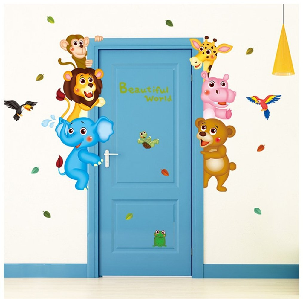 Home Decor Wall Decals Cartoon Animals Tiger Elephant Monkey Removable DIY Wall Art Decals for Boys Girls Kids Nursery