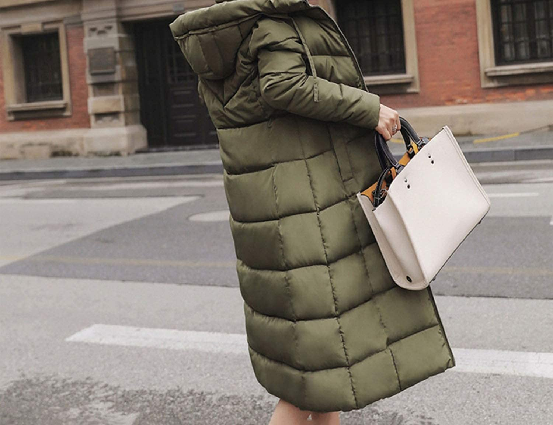 Winter Jacket Parka Coat Pockets Long Down Jacket Solid Long Hooded Down Coat Jacket Women