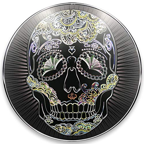 (Standard Derby Cover with Interchangeable Full Color Steel Faceplate for Dyna (99-2017), Softail (99-2018 Except FLSB), and Harley Davidson Touring Models (99-2015) - Neon Sugar Skull (Chrome))