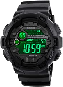 Fanmis Mens Digital LED Sports Watch Military Multifunction Dual Time Alarm Countdown Stopwatch 12H/24H Time Backlight 164FT 50M Water Resistant Calendar Month Date Day Watch