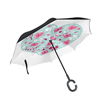 jstel doble capa puede corazón regalo mariposa paraguas coches Reverse resistente al viento lluvia paraguas para